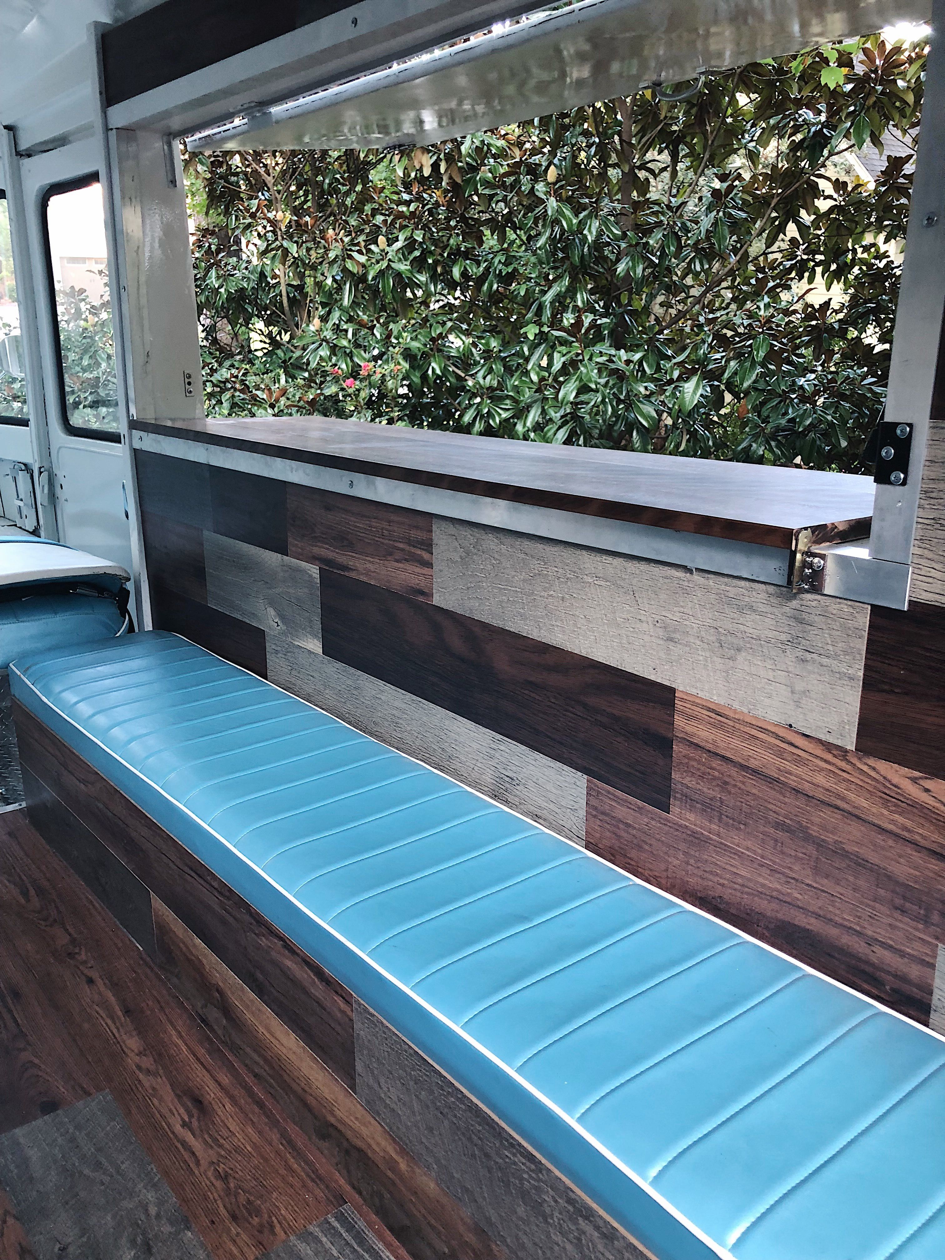 Our custom built bench with our wood paneling!